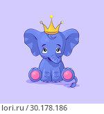 Купить «Elephant calf happy and contented sticker emoticon», иллюстрация № 30178186 (c) Maryna Bolsunova / Фотобанк Лори