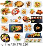Купить «Dishes with salmon and trout isolated on white background», фото № 30178626, снято 15 июля 2019 г. (c) Яков Филимонов / Фотобанк Лори