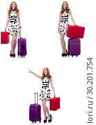 Купить «Beautiful woman in polka dot dress with suitcases isolated on wh», фото № 30201754, снято 25 февраля 2020 г. (c) Elnur / Фотобанк Лори