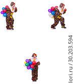 Купить «Funny male clown isolated on white», фото № 30203594, снято 19 марта 2019 г. (c) Elnur / Фотобанк Лори