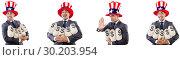 Купить «Man with american hat with moneybags», фото № 30203954, снято 17 июня 2019 г. (c) Elnur / Фотобанк Лори