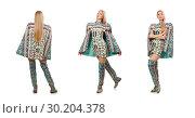 Купить «Woman in fashion concept isolated on whitModel wearing dress wit», фото № 30204378, снято 20 марта 2015 г. (c) Elnur / Фотобанк Лори