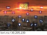Купить «5g internet concept in technology concept», фото № 30205230, снято 16 сентября 2019 г. (c) Elnur / Фотобанк Лори