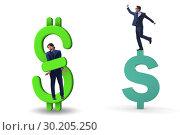 Купить «Businessman in dollar and debt concept», фото № 30205250, снято 18 марта 2019 г. (c) Elnur / Фотобанк Лори