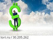 Купить «Businessman in dollar and debt concept», фото № 30205262, снято 18 марта 2019 г. (c) Elnur / Фотобанк Лори