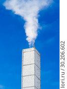 White chimney with smoke. Стоковое фото, фотограф Илья Галахов / Фотобанк Лори