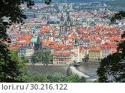 Купить «Прага, Чехия. Вид на Старе Место с холма Петршин», фото № 30216122, снято 7 июня 2010 г. (c) Михаил Марковский / Фотобанк Лори