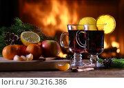 Купить «Two glasses of mulled wine (gluhwein)», фото № 30216386, снято 16 февраля 2019 г. (c) Алексей Кузнецов / Фотобанк Лори