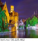 Купить «Quay of the Rosary in Bruges at night», фото № 30225462, снято 13 сентября 2011 г. (c) Роман Сигаев / Фотобанк Лори