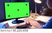 Купить «businesswoman having video call at night office», видеоролик № 30225658, снято 25 марта 2019 г. (c) Syda Productions / Фотобанк Лори