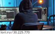 Купить «hacker creating computer virus for cyber attack», видеоролик № 30225770, снято 27 февраля 2019 г. (c) Syda Productions / Фотобанк Лори