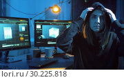Купить «hacker creating computer virus for cyber attack», видеоролик № 30225818, снято 27 февраля 2019 г. (c) Syda Productions / Фотобанк Лори