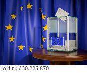 Купить «Ballot box with European Union EU flag.», фото № 30225870, снято 23 июля 2019 г. (c) Maksym Yemelyanov / Фотобанк Лори