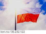 The national flag of Poland flutters in the wind against a blue cloudy sky. (2018 год). Стоковое фото, фотограф Акиньшин Владимир / Фотобанк Лори