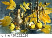 Купить «Still life with quince and a copper jug on a wet glass», фото № 30232226, снято 2 марта 2019 г. (c) Марина Володько / Фотобанк Лори