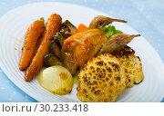 Купить «Image of plate with partridge», фото № 30233418, снято 21 марта 2019 г. (c) Яков Филимонов / Фотобанк Лори