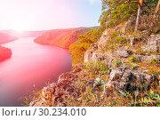 Scenic view from above of the Yumaguzinsky reservoir on the Belaya River. Bashkortostan. Стоковое фото, фотограф Акиньшин Владимир / Фотобанк Лори