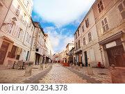 Купить «Street - Rue St Jean du Perot in La Rochelle», фото № 30234378, снято 2 декабря 2017 г. (c) Сергей Новиков / Фотобанк Лори