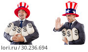 Купить «Man with american hat with moneybags», фото № 30236694, снято 17 июня 2019 г. (c) Elnur / Фотобанк Лори