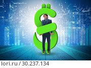 Купить «Businessman in dollar and debt concept», фото № 30237134, снято 18 марта 2019 г. (c) Elnur / Фотобанк Лори