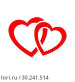 Купить «Two red hearts», иллюстрация № 30241514 (c) Сергей Лаврентьев / Фотобанк Лори