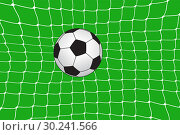 Купить «Editable vector illustration of a football hitting the back of the net», иллюстрация № 30241566 (c) Сергей Лаврентьев / Фотобанк Лори