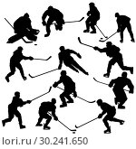 Купить «Ice hockey players silhouettes set», иллюстрация № 30241650 (c) Сергей Лаврентьев / Фотобанк Лори