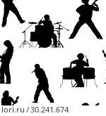 Купить «Seamless pattern with rock musicians», иллюстрация № 30241674 (c) Сергей Лаврентьев / Фотобанк Лори