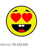 Купить «Loving smiley on white background», иллюстрация № 30242026 (c) Сергей Лаврентьев / Фотобанк Лори