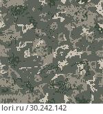 Купить «Seamless khaki camouflage of pixel pattern», иллюстрация № 30242142 (c) Сергей Лаврентьев / Фотобанк Лори