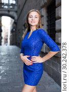 Купить «Elegant girl is posing in blue dress», фото № 30242378, снято 30 июля 2017 г. (c) Яков Филимонов / Фотобанк Лори