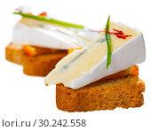Купить «Canape with orange and blue cheese», фото № 30242558, снято 22 марта 2019 г. (c) Яков Филимонов / Фотобанк Лори