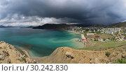 Купить «Beautiful panoramic view of dark thunderstorm clouds off the Black Sea coast near Feodosiya in the Crimea», фото № 30242830, снято 22 мая 2017 г. (c) Яна Королёва / Фотобанк Лори