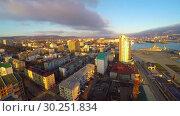 Купить «Таймлапс Новороссийска на рассвете», видеоролик № 30251834, снято 22 декабря 2016 г. (c) kinocopter / Фотобанк Лори