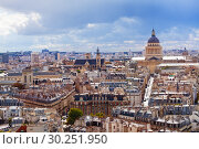 Купить «View of Paris roofs and Pantheon from above», фото № 30251950, снято 16 сентября 2017 г. (c) Сергей Новиков / Фотобанк Лори
