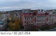 Купить «Чита, Забайкалье. Вид на город с дрона.», видеоролик № 30261054, снято 6 октября 2018 г. (c) kinocopter / Фотобанк Лори