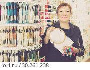 Купить «Positiv female standing with accessories for embroidery», фото № 30261238, снято 10 мая 2017 г. (c) Яков Филимонов / Фотобанк Лори