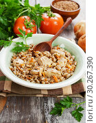 Купить «Buckwheat porridge with meat», фото № 30267390, снято 7 марта 2019 г. (c) Надежда Мишкова / Фотобанк Лори