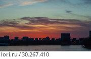 Купить «Закат над городом, таймлапс», видеоролик № 30267410, снято 8 марта 2019 г. (c) Алексей Букреев / Фотобанк Лори