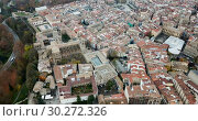 Купить «Aerial view of Pamplona medieval town with fortification in Navarre, Spain», видеоролик № 30272326, снято 23 декабря 2018 г. (c) Яков Филимонов / Фотобанк Лори