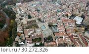 Купить «Aerial view of Pamplona medieval town with fortification in Navarre, Spain», видеоролик № 30272326, снято 23 декабря 2018 г. (c) Яков Филимонов / Фотобанк Лори