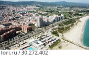 Купить «Aerial view of landscape of Mataro in the Spain.», видеоролик № 30272402, снято 23 июня 2018 г. (c) Яков Филимонов / Фотобанк Лори