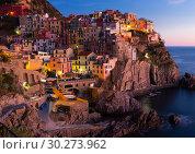 Купить «Manarola La Spezia city with small villages at evening, Italy», фото № 30273962, снято 4 декабря 2017 г. (c) Яков Филимонов / Фотобанк Лори