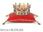 Купить «Golden crown with jewels on red velvet pillow for coronation isolated on white.», фото № 30274222, снято 14 июля 2020 г. (c) Maksym Yemelyanov / Фотобанк Лори