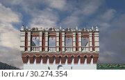 Купить «Kutafya Tower against the sky. Inside of Moscow Kremlin, Russia (day)», видеоролик № 30274354, снято 10 марта 2019 г. (c) Владимир Журавлев / Фотобанк Лори