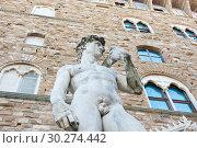 Купить «Копия статуи Давида перед дворцом Палаццо Веккьо. Флоренция. Италия», фото № 30274442, снято 26 апреля 2018 г. (c) Екатерина Овсянникова / Фотобанк Лори