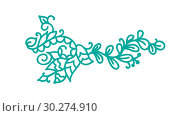 Купить «Turquoise monoline scandinavian flourish. Vector monogram vintage with leaves and flowers. Corners and dividers for Valentines Day, wedding, birthday greeting card, book, web design», иллюстрация № 30274910 (c) Happy Letters / Фотобанк Лори
