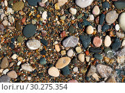 Купить «Stone natural background. Wet pebble stones in water.», фото № 30275354, снято 6 июня 2018 г. (c) Serg Zastavkin / Фотобанк Лори