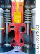 Купить «Internal combustion engine, cross section. Valves combustion chamber.», фото № 30275362, снято 6 июня 2018 г. (c) Андрей Радченко / Фотобанк Лори