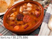 Купить «Fabada asturiana – beans stewed with chorizo», фото № 30275886, снято 21 марта 2019 г. (c) Яков Филимонов / Фотобанк Лори